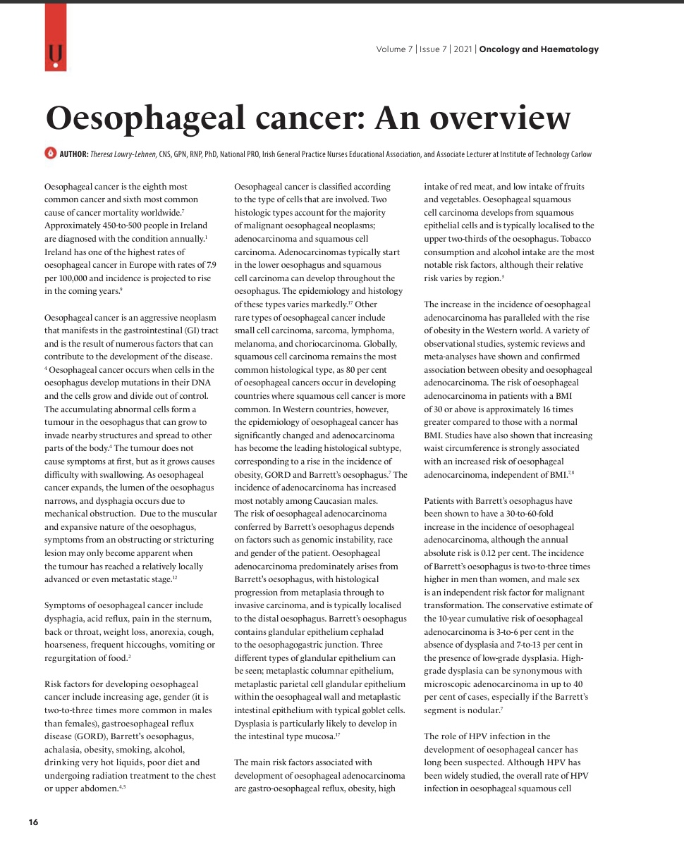 Oesophageal Cancer: An Overview